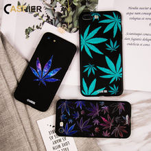 CASEIER Soft Silicone Phone Case For iPhone 6 6s Plus Colorful Leaves Patterned 7 8 X XS 5 5s SE Capinha