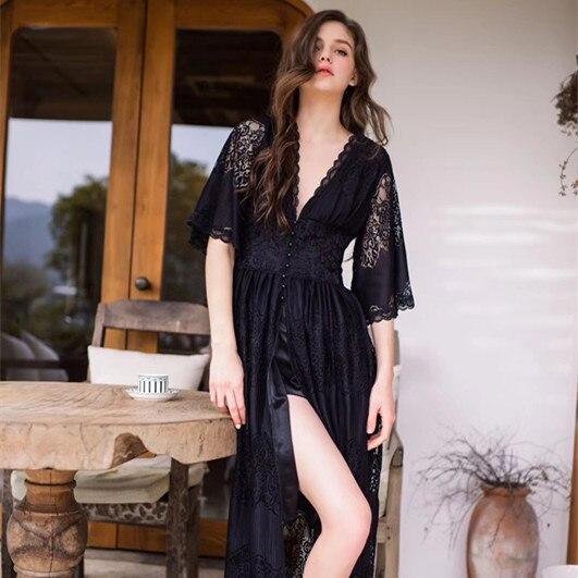Lisacmvpnel Long Style Lace Sexy Women Nightdress Deep V Outwear Sleepwear-in Nightgowns & Sleepshirts from Underwear & Sleepwears