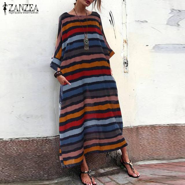 e682aa79d 2019 ZANZEA Summer Vintage Stripe Sundress Women Bohemian Long Vestidos  Ladies Kaftan Beach Party Maxi Dress