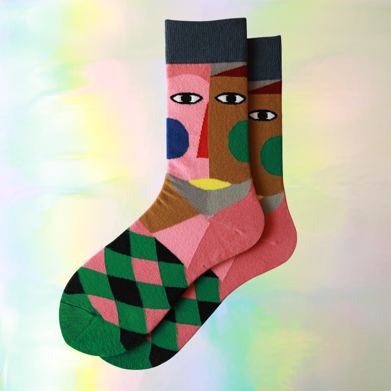 Men Socks Cute Novelty Both Spelling Face Diamond Funny Happy Female Korean Harajuku Streetwear Hip Hop Vintage Cotton Socks