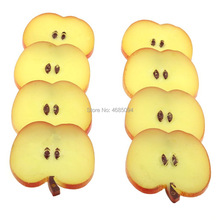 Gresorth 8 PCS Artificial Red Apple Slice Fake Fruit Slices Decoration Photography Props