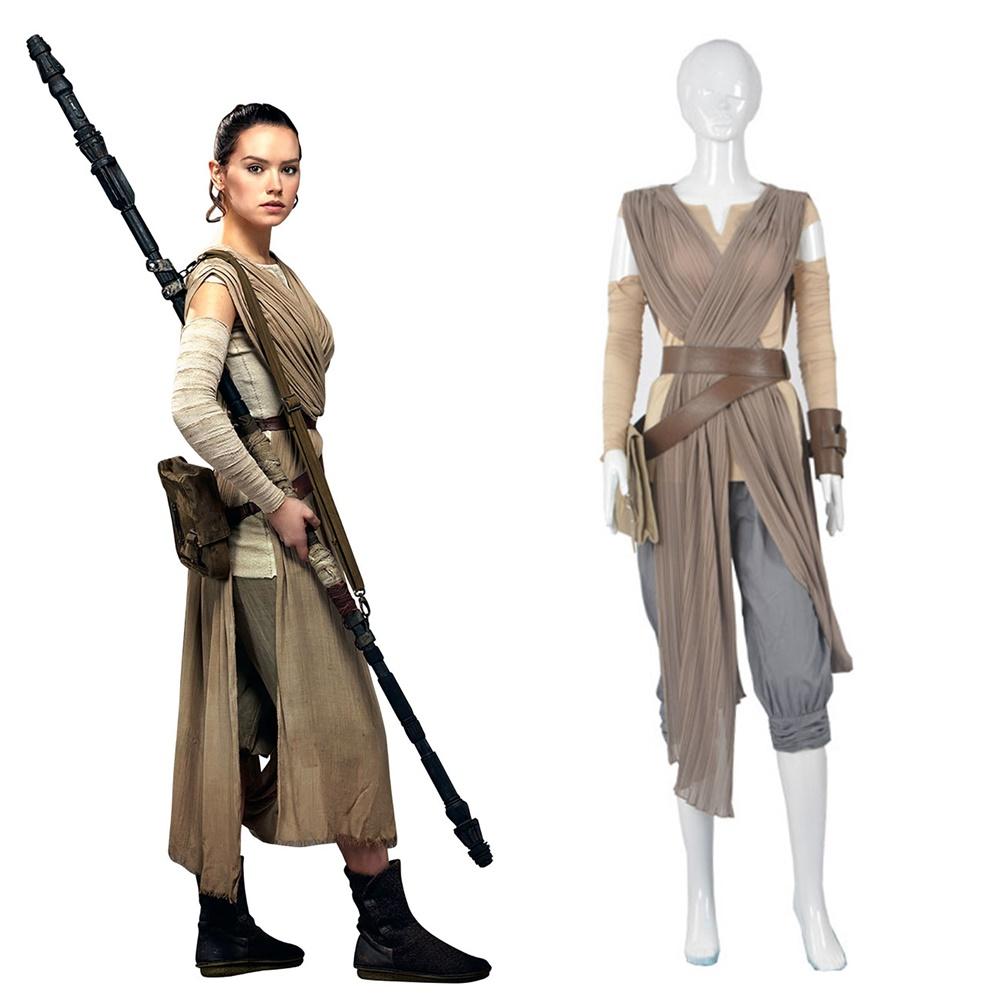 Top Grade Star Wars The Force Awakens Rey Cosplay Costume Halloween Outfit