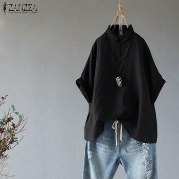 d4c4d79fc552342 2019 г. ZANZEA элегантная женская рубашка с отворотом и воротником для  работы OL летняя хлопковая