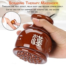 где купить Scraping Therapy Masajeador Gua Sha Machine Body Massager Electric Heating Vacuum Moxibustion Beauty Gua Sha Moxa Steam Massage по лучшей цене
