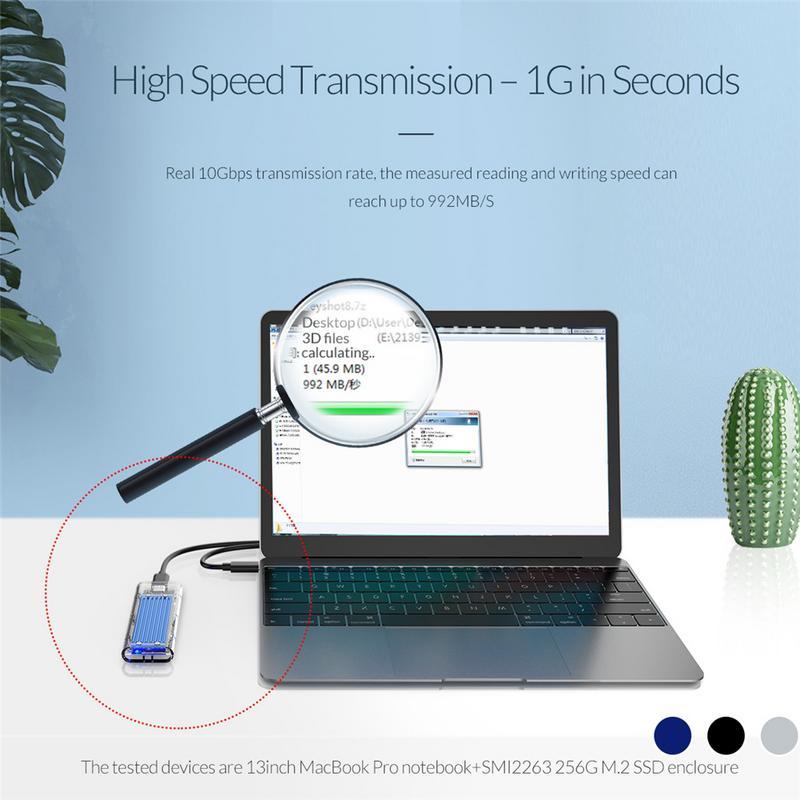 ORICO Type-c NVME M.2 HDD Boîte USB C SSD Boîtier Boîtier jusqu'à GEN2 10gbps Supprot 2 to avec Câble - 2