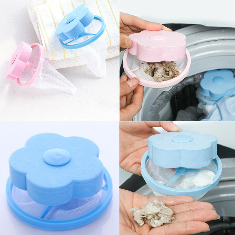 Image 2 - Filter Bag For Washing Machine 1Pcs Flower Wash Machine Ball Hair Lint Fluff Grabbing Remover Reusable Hair Removal Laundry Ball-in Laundry Balls & Discs from Home & Garden