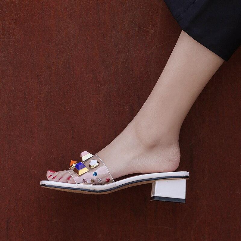 8921 Pink 4 Transparent Boîte yellow toe Plus white La Open Taille Cm Diapositives Chunky Mules Talons Femmes Jaune Pantoufles Style D'été D'emballage vnBCwxxU