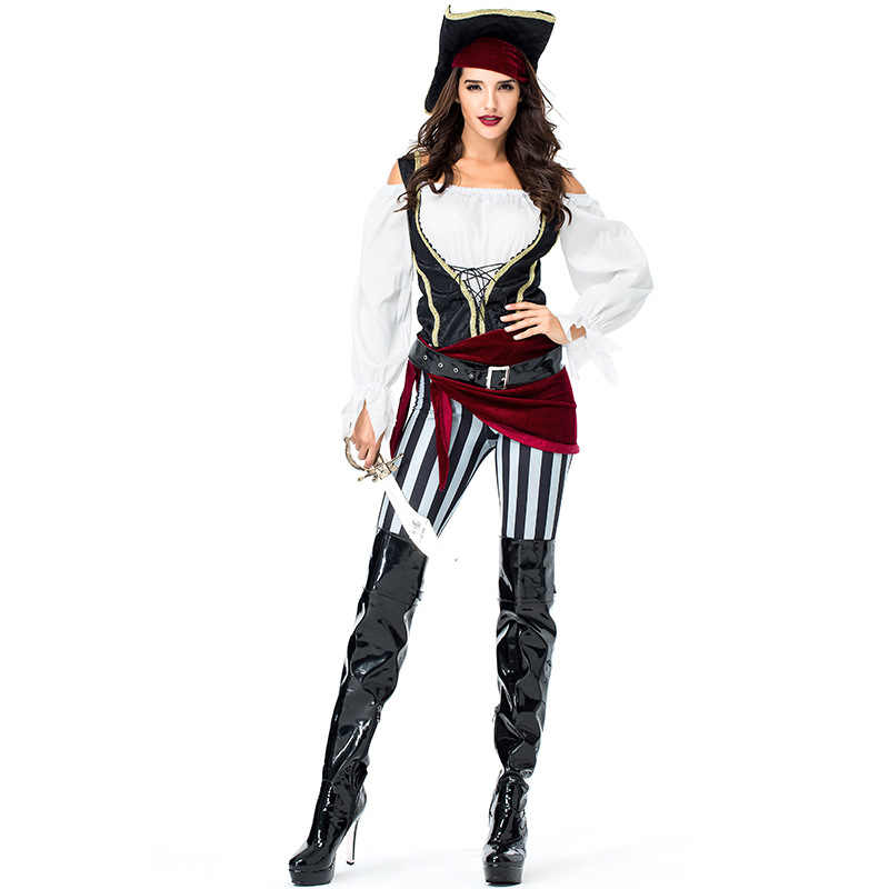 Charming Pirate Ladies Fancy Dress Buccaneer Caribbean Adults Costume Outfit New