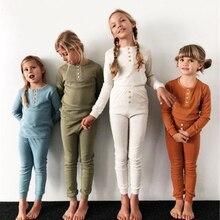 2 шт./компл. для малышей Детская ночная рубашка для детей, для девочек и мальчиков детские Повседневное; одежда для сна; халат; одежда для сна домашний Термальность пижамные комплекты на осень