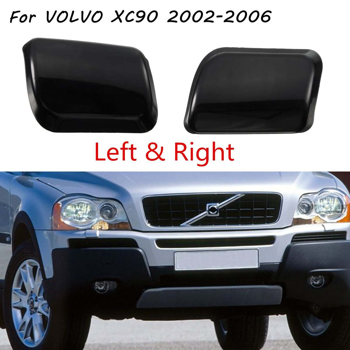 Front Bumper Headlamp Headlight Lamp Washer Jet Nozzle Cover Cap For <font><b>VOLVO</b></font> <font><b>XC90</b></font> 2002 <font><b>2003</b></font> 2004 2005 2006 image