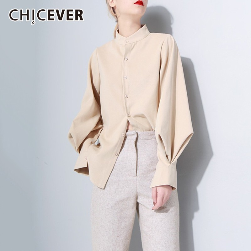 CHICEVER Women Tops And   Blouses     Shirts   Stand Collar Lantern Sleeve Thick   Blouse   Autumn Winter Fashion Vintage Clothes New