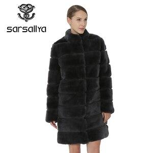 Image 4 - SARSALLYA Rex Rabbit Fur Women Coat  Detachable Overcoat Jacket Warm Winter Women Clothing Natural Fur Female Coat Jacket