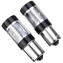 1 Pair P21W LED 1156 BA15S White 650Lm Turn Signal Reverse Brake Light 12V 24V Automobiles Lamp