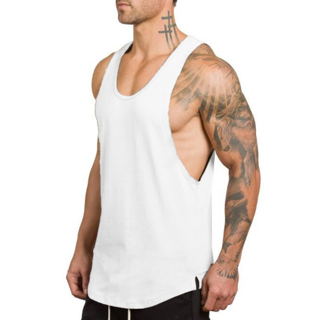 2019 Men's Gym clothing bodybuilding Solid O-Neck Tank Top Cotton Vest Sexy White Black Green Grey Men Tank Tops Gorilla Wear