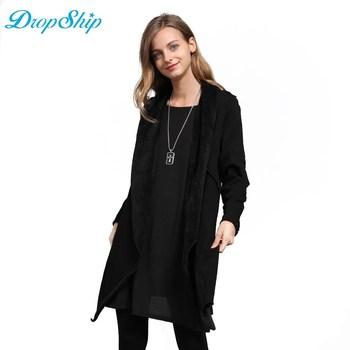 Прямая поставка 2018 толстый бархат для женщин; большие размеры пальто новая мода Свободные теплые шерстяные длинные зимние пальт