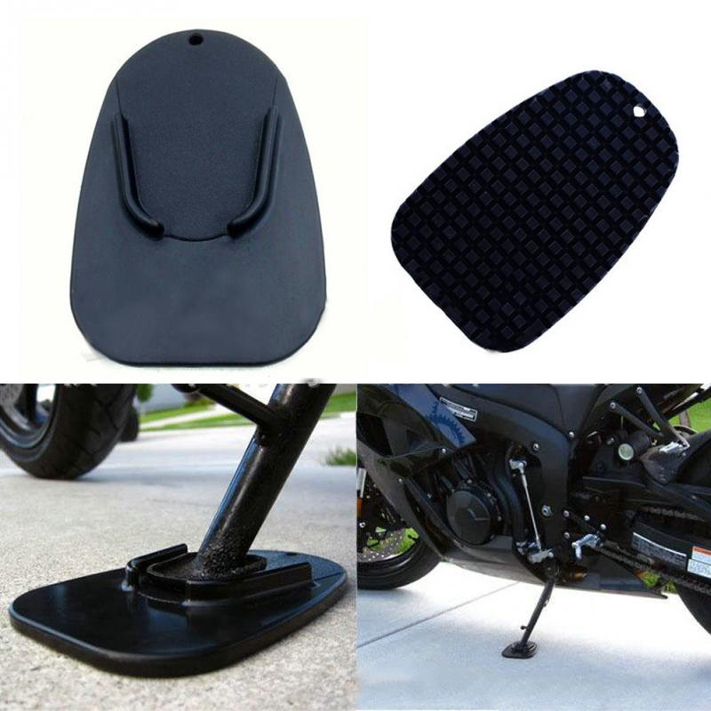 Black Universal Motorcycle Plastic Support Foot Pad Base Side Stand