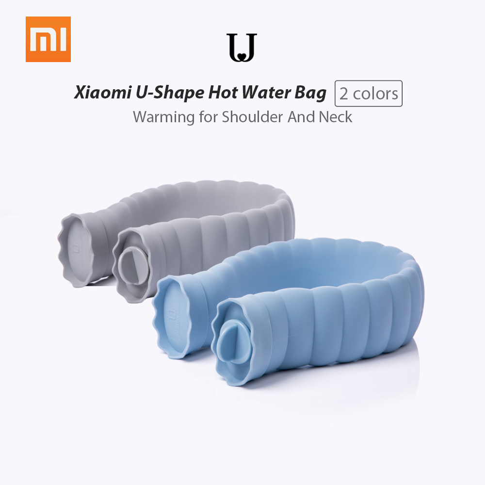Xiaomi U-Shape Hot Water Bag 710ml Silicone Bottle Neck Hand Warmer Heater With Knitted Cover Warm Water Storage Bags Keep Warm
