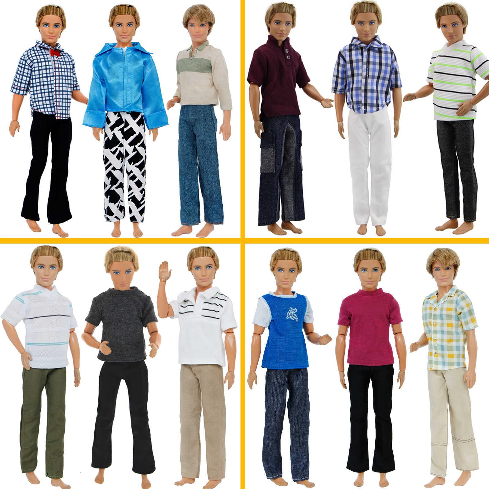 3 комплекта, Мужская одежда, брюки + топы, клетчатая полосатая футболка, аксессуары для кукол, модная одежда для куклы Барби, одежда для Кена, подарки