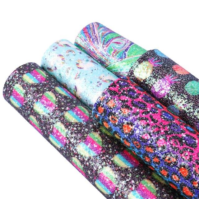 Accesorios David 20*34 cm brillo lentejuelas piña leopardo corazón amor imitación cuero sintético, decoración de bolsas para el cabello DIY, 1Yc4879