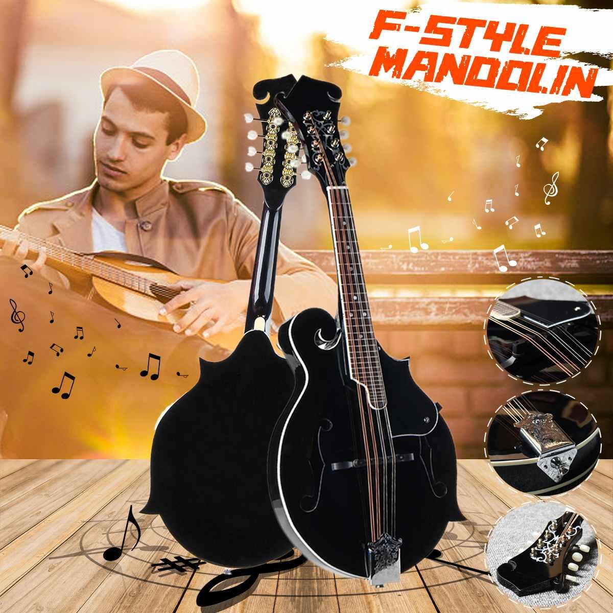 F Style 8 cordes mandoline noire avec corde en acier palissandre pont réglable Instrument de musique avec sac et 2 médiators