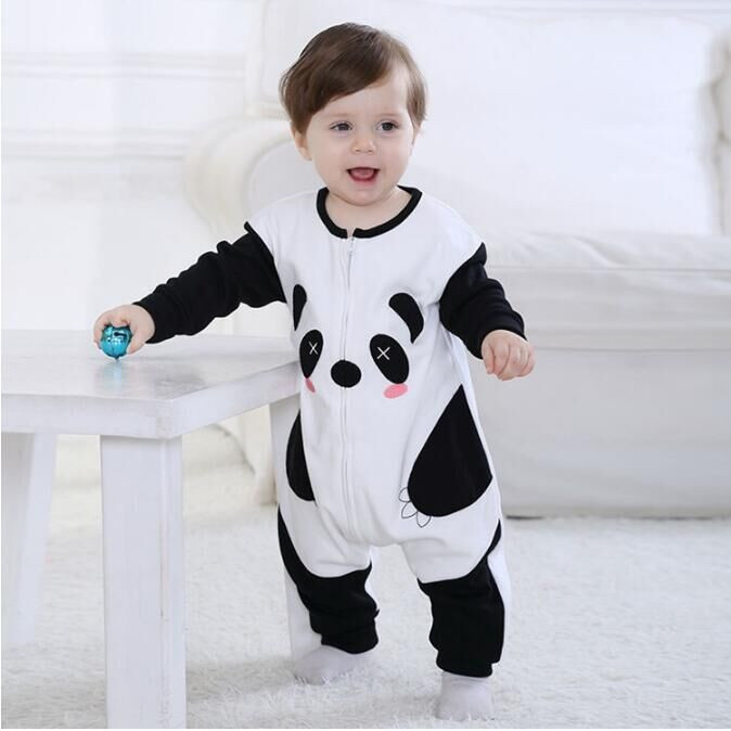 Androktones Newborn Infant Baby Lovely Clothes Pure Cotton Panda Romper Hooded Jumpsuit Onesie Cosplay Boys Girls Spring Costume