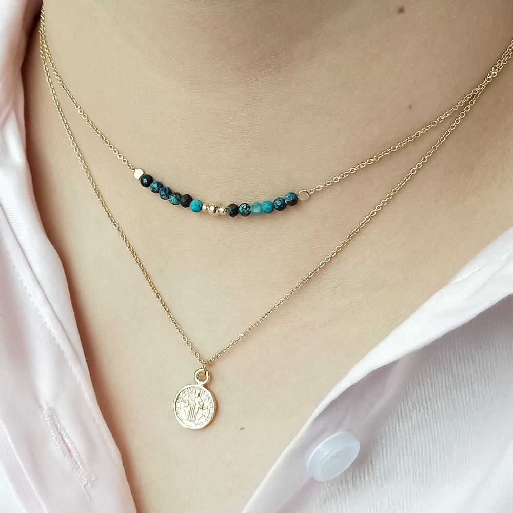 Lii Ji Natural Chrysocolla Choker Layered Chain Handmade Elegant Cross Pendant Necklace Delicate Jewelry for Gift Dropshipping