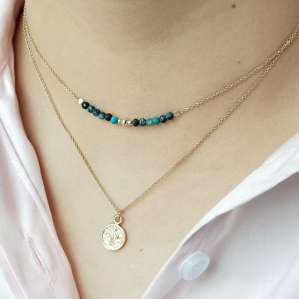 Lii Ji naturel Chrysocolla Choker chaîne en couches à la main élégant croix pendentif collier bijoux délicats pour cadeau livraison directe