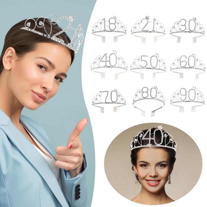 Digital Crown Birthday Party Queen Crystal Tiaras And Crowns Hair Comb Party Birthday Wedding Ornaments Accessories
