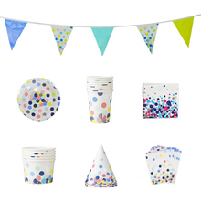 Paper Cup, Plate, Bowl, Paper, Flag, Bag Set Colorful Point Point Disposable Paper Cutlery Adult  Birthday Party Decorations children s birthday dinosaur cutlery party supplies set paper hat paper cup paper tablecloth gift bag props