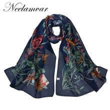 Neelamvar Long chiffon Silk scarves New  Flower print woman Shawl Artist scarfs free shipping