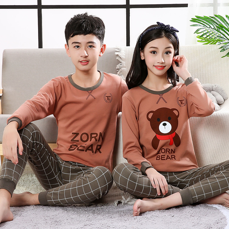Children Pajamas Long Sleeve 100% Cotton Pyjamas Kids Clothes Sets Cartoon Boys Sleepwear Nightwear Teenager Pajamas For Girls