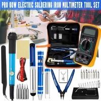 Iron Welding Digital Multimeter Tool Kit 25 In1 60W AC 110V/220V Electric Adjustable Soldering Long Lasting Electronics Work