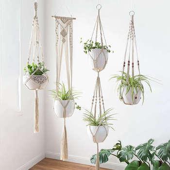 4 Pack Macrame Plant Hangers Creatieve Ontwerpen Handgemaakte Indoor Muur Opknoping Planter Plant Houder Moderne Boho Woondecoratie