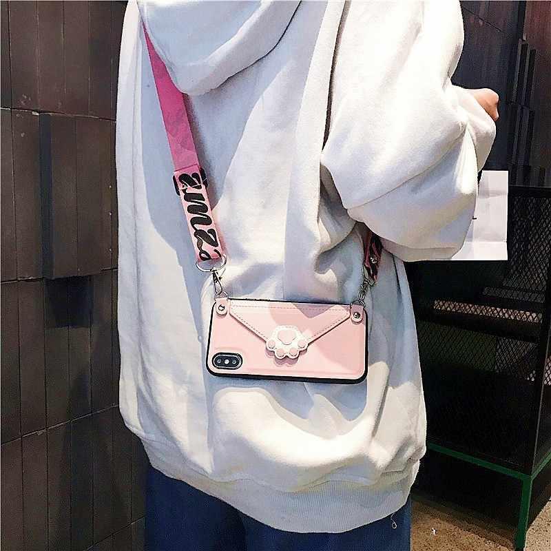 Чехол-Кошелек через плечо для мобильного телефона iphone XR 6 6s 7 8 Plus 10 X Xs Max Cat claw из искусственной кожи с отделением для карт с плечевым ремнем
