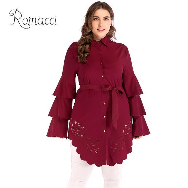 ed5e39bc163 New Autumn Women Large Size Shirt Turn-down Collar Layer Long Sleeve Long  Blouse Bandage