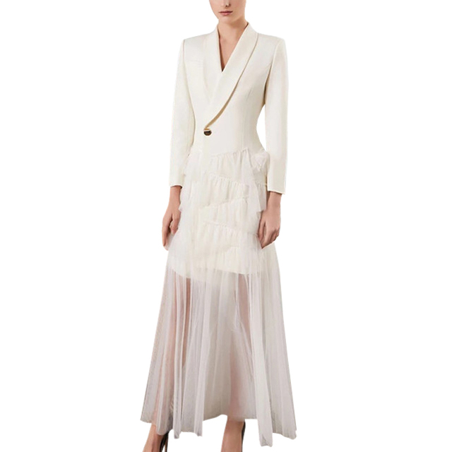 94ec8dc60b9 fashion women 2019 dresses black white sheer mesh patchwork notched collar  single button long sleeve a-line bohemian long dress