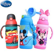 Disney 3D Minnie Mickey Mouse Insulation Cups Cartoon Feeding Student Convenient Outdoor Child Sports Bottle With Silicone Straw(China)