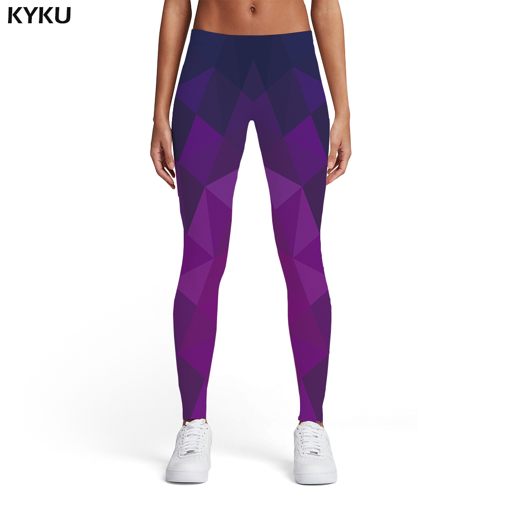 KYKU Geometric Leggings Women Harajuku Ladies Stripes Elastic Gothic Sexy Purple Spandex Womens Leggings Pants Jeggings