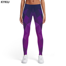 KYKU Geometric Leggings Women Harajuku Ladies Stripes Elastic Gothic Sexy Purple Spandex Womens Pants Jeggings