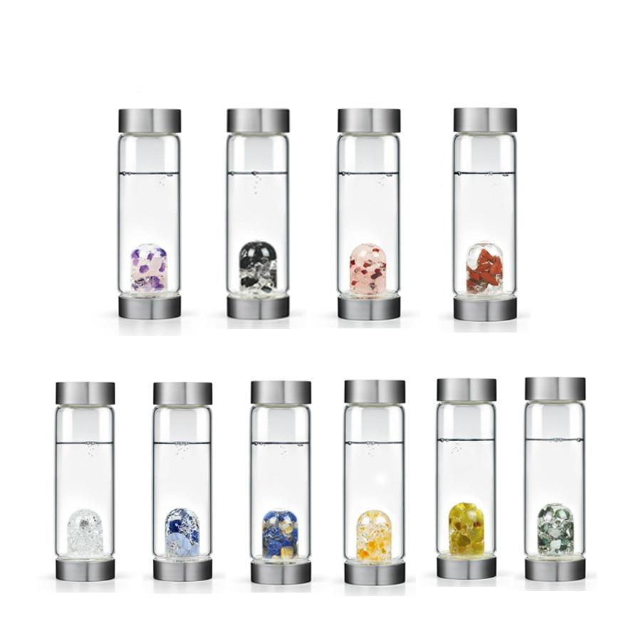 Soffe – bouteille d'eau en cristal naturel, 600ml, avec couvercle, sans Bpa, avec pierres précieuses 6