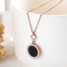 Korean-Style Necklace stainless steel lady necklace  Pendant Rose Gold Color plated Stainless Steel Choker Students