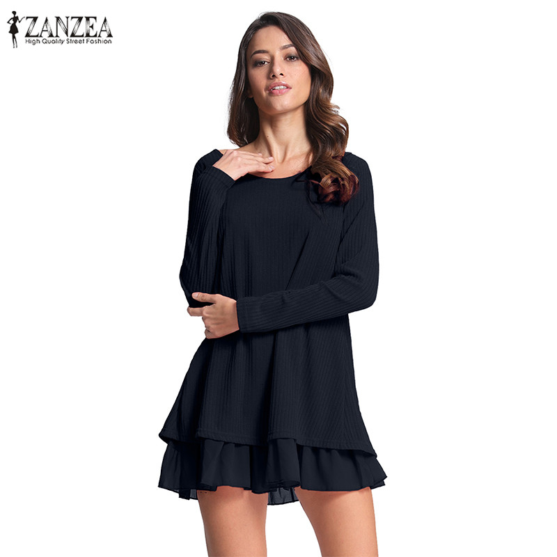 2019 Spring Elegant Party Dress Women ZANZEA Casual Solid Patchwork Chiffon Long Sleeve O Neck Loose Mini A-line Dress Vestidos