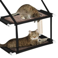 Double Stack Cat Window Perch Hammock Window Mounted Cat Bed, Suction Cup Hanging Pet Bunk Bed