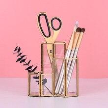 Стеклянный медный шестигранный композитный держатель для ручек, кисти для макияжа, стеклянная коробка, многофункциональный настольный органайзер, офисные аксессуары
