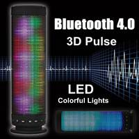 Portable 3D Pulse 4.0 Wireless bluetooth Speaker LED lights Colorful Music NFC TF Card 3.5mm Aux Handsfree Stereo Metal Speaker