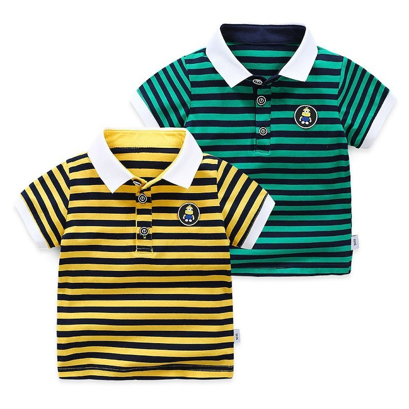Kids Boy Summer Striped POLO Shirt Fashion Children Short Sleeve Pure Cotton Top Clothes New Toddler Baby Boys Breathable Shirts