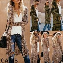 Womens Long Sleeve Loose Cardigan Leopard Kimono Blouse Tops Coat Jacket Outwear fringe hem leopard kimono