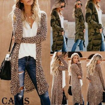 Womens Long Sleeve Loose Cardigan Leopard Kimono Blouse Tops Coat Jacket Outwear