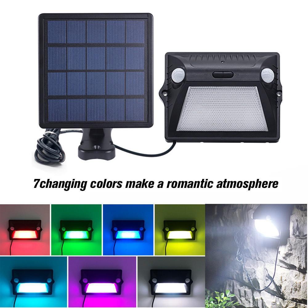 LumiParty Waterproof Outdoor Solar Light Dual-Head Motion Sensor Split Solar Street Lamp Road Light White Light+Colorful Light