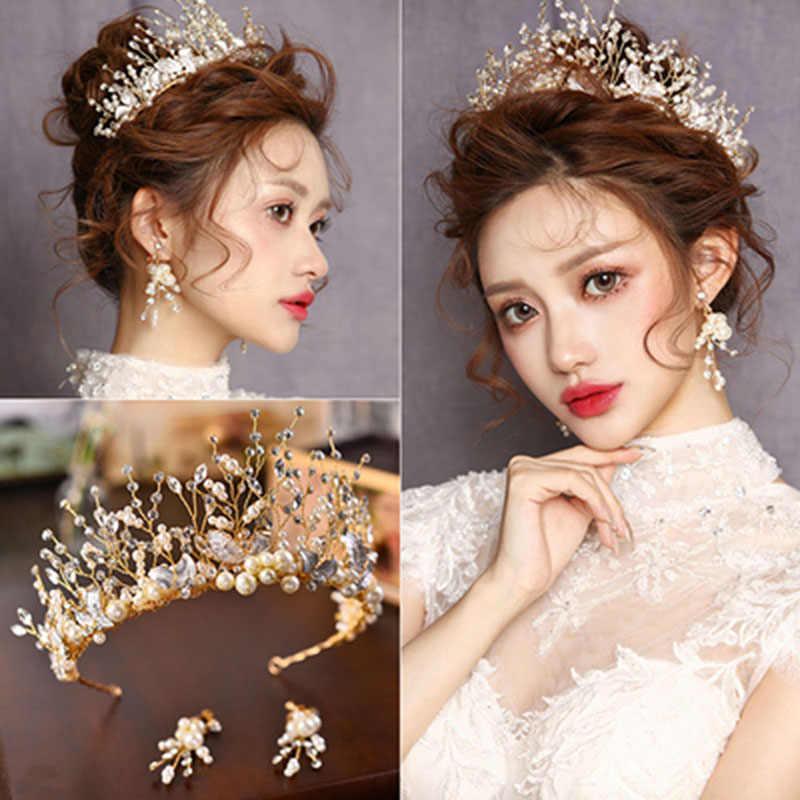 Bandeau Baroque mariée sirène princesse or couronne diadème mariage cheveux accessoires nuptiale casque tête bijoux fille diadème ensembles